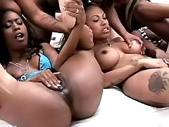 Asian black lesbians caress each other