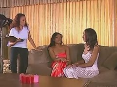 Lesbian with smooth tempting ebony body