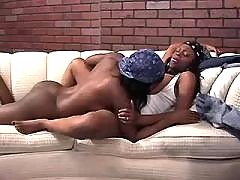 Horny black lesbian licks pussy in forest