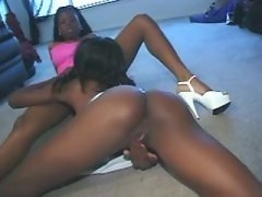 Stunning chocolate lesbians fucking non stop